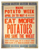 Maine Potato Week World War 1 poster, 1918