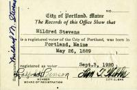 Voter registration card, Portland, 1920