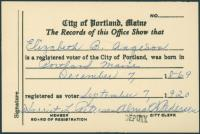 Elizabeth Aageson voter card, 1920