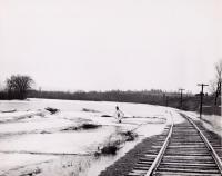 Spring flooding on the Bangor and Aroostook Railroad tracks, c. 1955