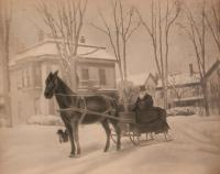 Dr. Innis on Court Street, Houlton, c. 1890