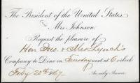 Invitation to White House dinner with Johnsons, 1867