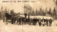 Delmont Emerson logging camp and crew, Island Falls, ca. 1910