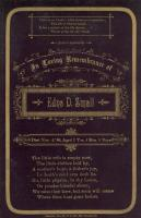 Edna Small Remembrance Card, Houlton, 1888