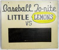 Little Lemons Baseball Sign, Lisbon Falls, ca. 1950