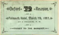 Oxford reunion ticket, 1883