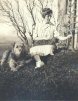 Mary Helen Catlin with pets, Spencer Lake Camps, ca. 1920
