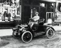 Man Driving Near Brown Block, Sanford, ca 1909