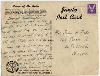 Postcard from Walter Hustus to grandmother, 1943