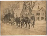 Oxen hauling logs, Fryeburg