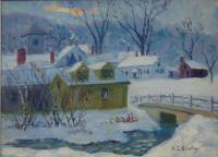 Painting of Fryeburg, ca. 1950