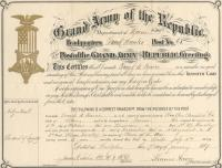 Frank W. Pearce GAR Transfer Card, 1889