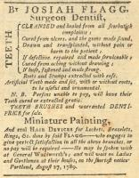 Dentist advertisement, Portland, 1789