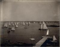 Sailboats in Boothbay Harbor, ca. 1905