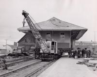 Moving the Bangor and Aroostook Railroad station, Presque Isle, c. 1955