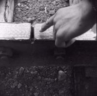 Rail batter repair, ca. 1955