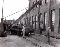 Moving a wheel set, Derby, ca. 1955