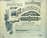 Lizzie Mae Jewell Potter Academy diploma, Sebago, 1899