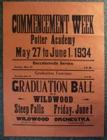 Potter Academy Commencement Week poster, Sebago, 1934
