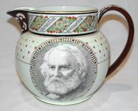 Commemorative pitcher with portrait of Henry Wadsworth Longfellow