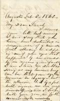 P.F. Sanborn letter to daughter, February 5, 1862