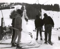 Loading the main T-bar, Bridgton, ca. 1955