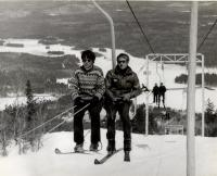 Riding the Old Blue chairlift at Pleasant Mountain