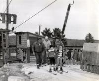 Kids load the T-bar, Bridgton, ca. 1955.