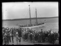 Crowd seeing Donald B. MacMillan off, Wiscasset, 1927