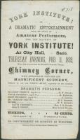 Dramatic entertainment flyer, York, 1869