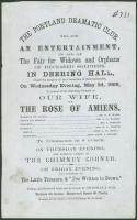 Portland Dramatic Club flyer, 1866
