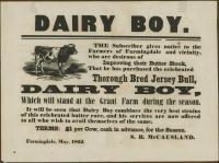 Dairy Boy bull offer, Farmingdale, 1862