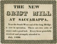 New grist mill broadside, Saccarappa, 1830