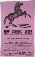 Horse shoeing shop advertisement, Wiscasset, 1874