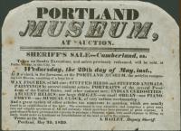 Notice of museum auction, Portland, 1839