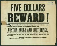 Custom House reward, Wiscasset, 1871
