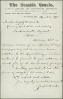 Joseph Wood to Queen Victoria, 1875