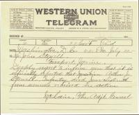 Telegram from General McLain to John Stowell, 1918