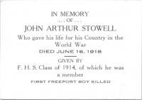 Memorial card for John Arthur Stowell, 1919