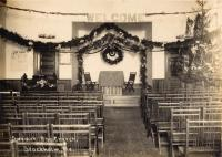 Baptist Church interior decorated for Christmas, Stockholm, c. 1935