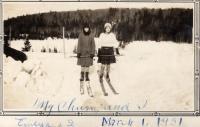 Skiing to school, New Sweden, 1931