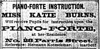 Piano instruction advertisement, Portland, 1878