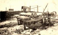 Carl Johnson's bark scaler, Woodland, ca. 1922