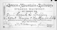 Steamer 'Wauwinet' season pass, Mt. Desert Island, 1885