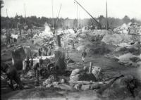 Construction of new dam at Estes Privilege, Sanford, 1906