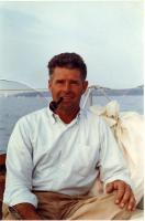 Donald Bryant on Rockefeller yacht, Seal Harbor, ca. 1981