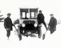 Three Men Shoveling Snow, Sanford, 1918