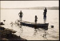 Schatzel family and Harry Miles Freeman, Otisfield, 1908