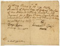 Receipt for slave, Kittery, 1738