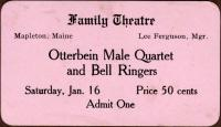 Family Theatre ticket, Mapleton, ca. 1915